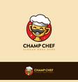 trophy champion chef mascot cartoon logo icon vector image