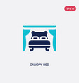 two color canopy bed icon from furniture and vector image