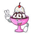 two finger ice cream sundae character cartoon vector image vector image