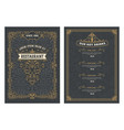 vintage menu with classic and premium ornaments vector image vector image