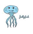 Cute cartoon jellyfish vector image
