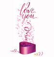 a gift box and inscription i love you vector image