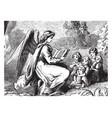 angel reading to children rock vintage engraving vector image