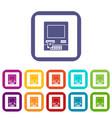 Atm bank cash machine icons set flat