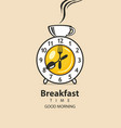 banner for breakfast with clock tableware and cup vector image