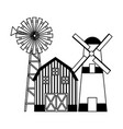 barn windmill tractor vector image