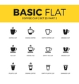 basic set coffee icons vector image