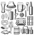 beer brewing and snacks icons vector image vector image