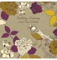 Bird blooming flowers vector image