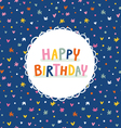 Birthday greeting card on deep blue seamless vector image vector image
