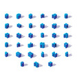 blue isometric russian alphabet with shadows vector image vector image