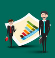 businessmen with success graph vector image