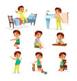 cartoon boy daily routine activity set vector image