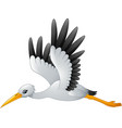 cartoon stork flying vector image vector image