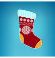 Christmas Colorful Sock on a Blue Background vector image vector image