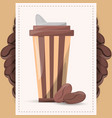 coffee paper cup beans design vector image