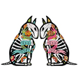 colorful bullterriers two colors vector image vector image