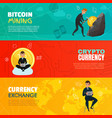 cryptocurrency horizontal banners vector image vector image
