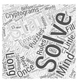 Cryptograms in Mind Puzzles Word Cloud Concept vector image vector image