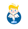 cute cupid standing on cloud vector image