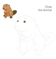 Draw the forest animal beaver cartoon vector image