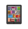 e-book with bookshtlves on screen vector image vector image