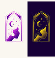 elegant emblem with a profile picture a young vector image vector image