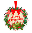 festive merry christmas tree wreath garland vector image