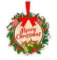 festive merry christmas tree wreath garland vector image vector image
