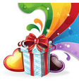 gift box on rainbow background vector image