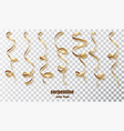 gold curly ribbon serpentine confetti golden vector image