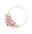 gold wreath with a blooming red hydrangea roses vector image vector image