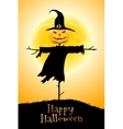 Halloween Background with Moon and Scarecrow vector image