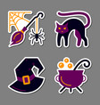 halloween icon sticker set patchwork design vector image vector image