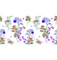 hand drawing seamless floral pattern - wild flower vector image vector image