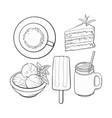 hand drawn food with matcha tea - ice cream cake vector image vector image
