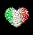italy flag sparkling heart badge vector image