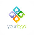leaf square colored logo vector image vector image