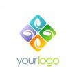 leaf square colored logo vector image