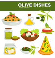 olive dishes food oil and salads vector image vector image