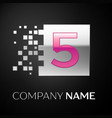 pink number five logo symbol in the silver square vector image vector image