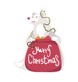polar bear with red bag full presents symbol vector image