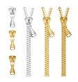 realistic zippers type set of vector image