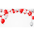red and white balloon with confetti vector image vector image