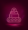 robot car neon icon - artificial vector image vector image