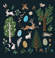 rustic elements such as trees rabbits eggs and vector image