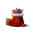 santa claus bag with presents isolated on white vector image