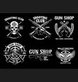 set collection shooting club badge design vector image vector image