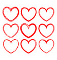 set frames drawn in red ink vector image vector image