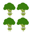set with cartoon broccoli vector image